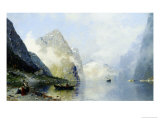 Beautiful Day on the Norwegian Fjord Giclee Print by George Rasmussen