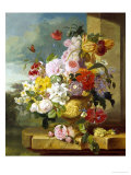 Rich Still Life of Flowers in a Vase Giclee Print by John Wainwright