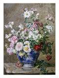 Still Life of Anemones and Roses in a Blue and White Vase Giclee Print by Francois Rivoire