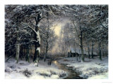 Wooded Winter Landscape, c.1899 Reproduction procédé giclée par Carl Fahrbach