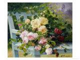 Roses romantiques Reproduction procédé giclée par Eugene Henri Cauchois