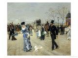 L'Esplanade des Invalides et Promenade, Paris, c.1880 Giclée-Druck von Leon Joseph Voirin