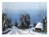 The Crossroads in Snowy Weather Giclee Print by Charles Paterson