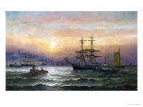 Shipping in the Mouth of the Medway, Evening Giclee Print by Charles Thorneley