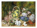 Spring Flowers and a Bird's Nest on a Mossy Bank Impression giclée par George Clare