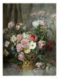 Still Life of Roses, Anemones and Phlox in a Basket Giclee Print by Francois Rivoire
