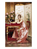 Composing a Letter Giclee Print by Charles Soulacroix