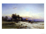 The Thames Frozen, Evening, Sonning, c.1852 Giclee Print by George Williams