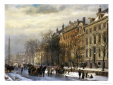 View on the Herengracht Along the Amstel at Amsterdam Giclee Print by Cornelis Springer