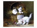 Basket of Mischief Giclee Print by Leon Charles Huber