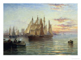 Shipping Below Hull, Evening Giclee Print by Arthur J. Meadows