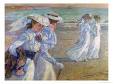 Walk on the Beach Gicleetryck av Théo van Rysselberghe