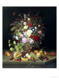 Still Life of Flowers and Fruit Giclee Print by Christian Mollback