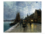 The Port at Dusk Giclee Print by Ernest-Joseph Laurent