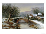 Bridge Cottage, Winter Giclee Print by William Stone