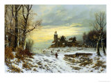 The Shortening Winter's Day Is near a Close Giclee Print by Friedrich Heyendahl