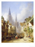 Street Market, Rouen Giclee Print by Caleb Robert Stanley