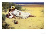 Playing with Mother Impression giclée par William Blacklock