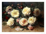 Pink and Yellow Roses Giclee Print by Jean Baptise Robie