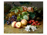Still Life with Flowers and Fruit Giclee Print by Henri Robbe