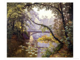 The Milieu Bridge in the Forest Giclee Print by Henri Biva