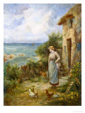 Feeding the Chickens Giclee Print by Ernest Walbourn