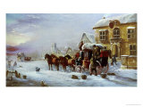 Halt at the George Inn, Winter Giclee Print by John Charles Maggs