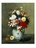 Still Life with Summer Flowers and Fruit Giclee Print by Antoine Vollon