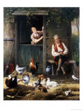 The Farmyard Tease Giclee Print by Eugene Remy Maes