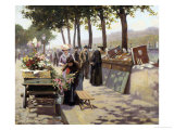 On the Banks of the Seine, Paris Giclee Print by Jules Antoine Voirin