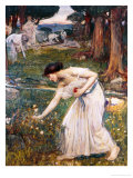 Gathering Rosebuds Giclee Print by John William Waterhouse