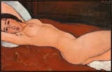 Reclining Nude Framed Canvas Print by Amedeo Modigliani