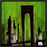 Green Cityscape Framed Canvas Print by Paul Brent
