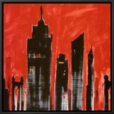 Red Cityscape Framed Canvas Print by Paul Brent