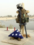 Fallen Soldier's Gear, Camp Baharia, Iraq, June 12, 2007 Photographic Print by Stocktrek Images