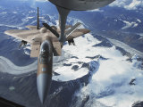 F-15C Eagle Aircraft from behind a KC-135R Stratostanker over the Pacific Alaskan Range Photographic Print by Stocktrek Images 