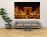 A Night View of the Arc De Triomphe and the Champs Elysees Lit up for Christmas Wall Mural by Nicole Duplaix