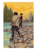 Women Fly Fishing, Mt. Rainier National Park, Washington Prints by  Lantern Press