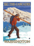 Ski the Cascades, Cascade Mountains, Washington Prints by  Lantern Press