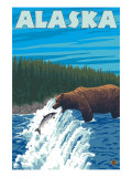 Alaska Bear Fishing for Salmon Prints by  Lantern Press