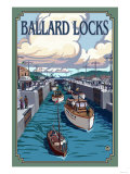 Ballard Locks and Boats, Seattle, Washington Art by  Lantern Press