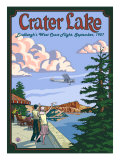 Lindbergh's West Coast Flight, Crater Lake, Oregon, c.1927 Prints by  Lantern Press