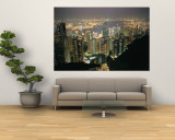 The Hong Kong Skyline is Lit up at Night with Thousands of Lights Wall Mural by Paul Chesley