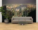 The Hong Kong Skyline is Lit up at Night with Thousands of Lights Wall Mural – Large by Paul Chesley