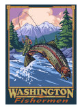 Washington Fisherman, Washington Prints by  Lantern Press