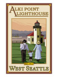 Alki Point Lighthouse, Seattle, Washington Prints