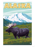 Denali National Park Moose and Mount McKinley Print