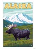 Denali National Park Moose and Mount McKinley Prints by  Lantern Press