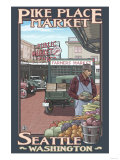 Pike Place Market, Seattle, Washington Prints by  Lantern Press