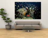 Fish Abound in a Coral Reef off the Coast of Papua New Guinea Reproduction murale g&#233;ante par Wolcott Henry